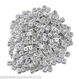500-Silbergrau-Acryl-Buchstaben-034-A-Z-034-Wuerfel-Spacer-Perlen-Beads-6x6mm