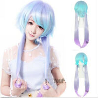 New Long Straight LOLITA Hair Anime Cosplay Party Full Wigs/Wig Purple Blue Mix