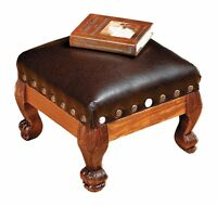 Wood & Leather Footstool Ottoman Soft Furniture Sturdy Chair Old Fashion Vintage