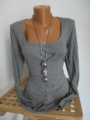 Heine B.C NEUF HENLEY Chemise manches longues taille 34-40 gris 2 en 1 611