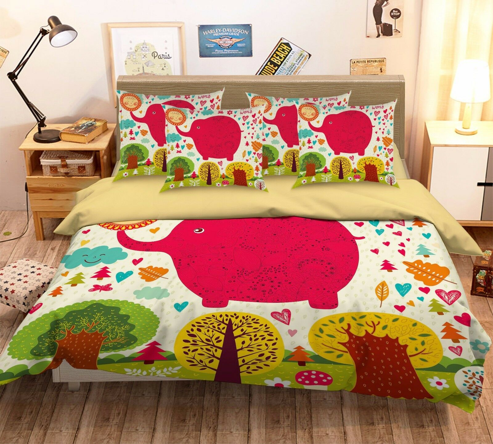 3D Red Flying Elephant 52 Bed Pillowcases Quilt Duvet Cover Set Single Queen CA