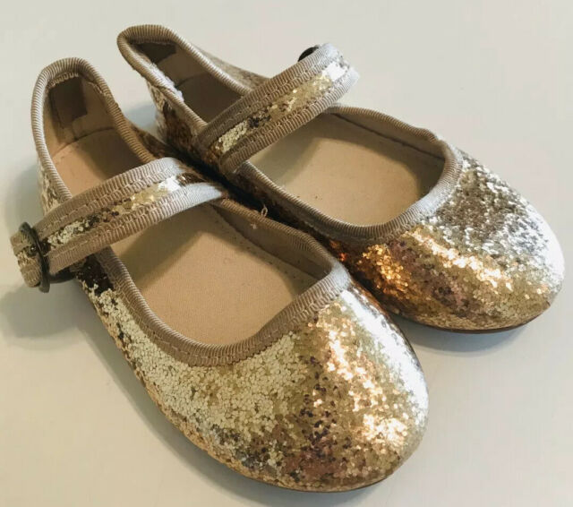 Gap Girls Gold Glitter Mary Janes Shoes
