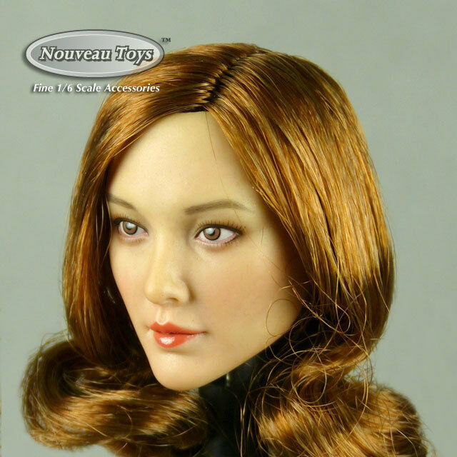1 6 Scale Phicen, TBLeauge, Cat Toys Female Asian Auburn Wavy Hair Head Sculpt