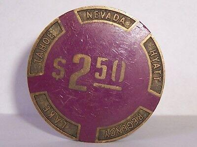 Hyatt Regency Casino Chips Brass Purple 2 50 Poker Heavy Chip