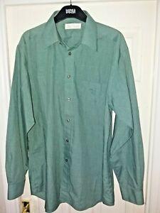 Mens-Green-Long-Sleeved-Shirt-Marks-amp-Spencer-M-amp-S-15-5-039-Collar