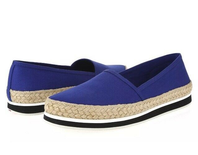 Prada Women's Slip On Donna Tan Espadrille Shoes Blue Tan Donna 6070 Sz 38.5 EUR 3433d3