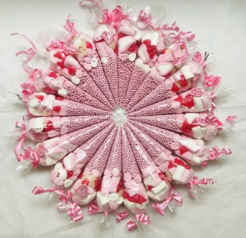Pink Sweet Candy Cones Sweets Party Bags Filled Bag Assorted Sweet Cone