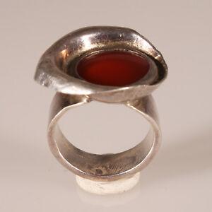 9408-Handgemachter-Silberring-Unikat-Karneol-designer-massiver-Silber-925