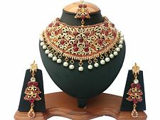 NEW INDIAN A.D STYLE GLAMOUROUS BOLLYWOOD BRIDAL & PARTYWEAR KUNDAN NECKLACE SET