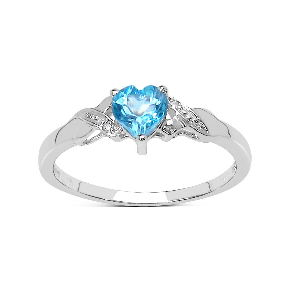 SMALL 9CT WHITE gold blueeE TOPAZ HEART & DIAMOND ENGAGEMENT RING SIZE HIJKLMNOPQR