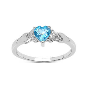 SMALL-9CT-WHITE-GOLD-BLUE-TOPAZ-HEART-amp-DIAMOND-ENGAGEMENT-RING-SIZE-HIJKLMNOPQR