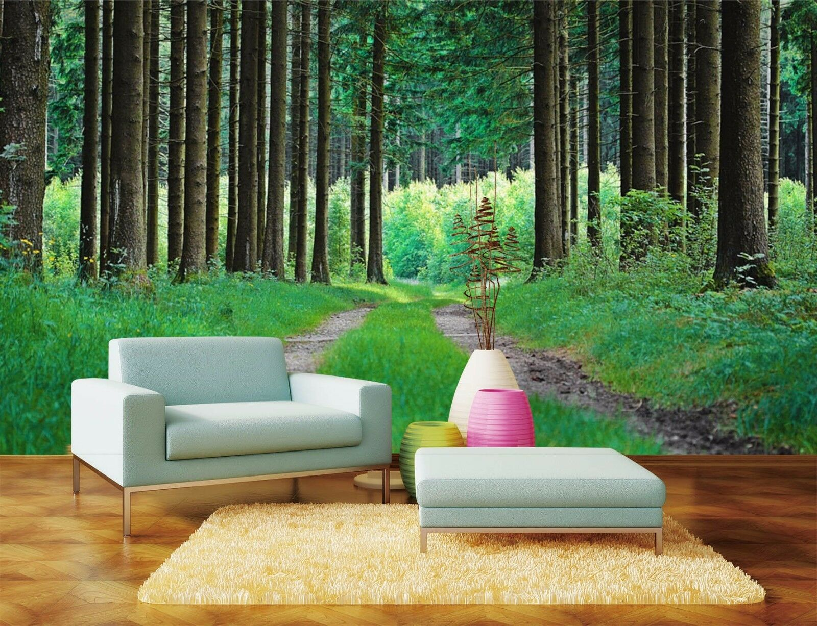 3D Straight woods 437 Wall Paper Print Wall Decal Deco Indoor Wall Murals