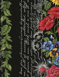 Timeless-Treasures-Beautiful-11-034-floral-Border-Stripe-cotton-fabric-by-the-yard