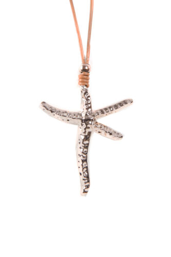 New LAGENLOOK  Silver Rose Gold Star Fish Pendant CZ Leather Suede Long Necklace
