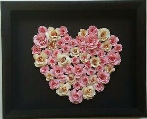 Details About Pink Cream Roses Heartshape Flower Arrangement 3d Wall Art Box Frame Home Decor