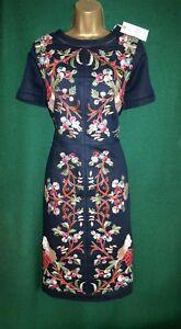 New-MONSOON-Uk-8-10-Dark-Navy-Blue-Linen-LILOU-Floral-Embroidered-Shift-Dress