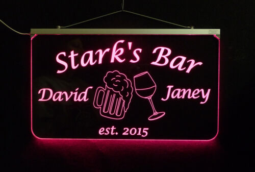 Anniversary gift Name sign Personalized Bar Sign Edge Lit Sign Wedding Gift