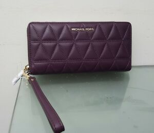 4cf62095b4aed8 Image is loading MICHAEL-KORS-CONTINENTAL-LEATHER-WALLET-WRISTLET-DAMSON -MSRP-