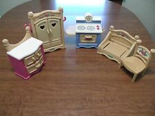 Fisher Price Briarberry Furniture Lot Wardrobe Stove Chair Couch Dresser
