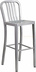 MID-CENTURY-SILVER-039-NAVY-039-STYLE-BAR-STOOL-HIGH-TOP-CHAIR-IN-OUTDOOR-COMMERCIAL