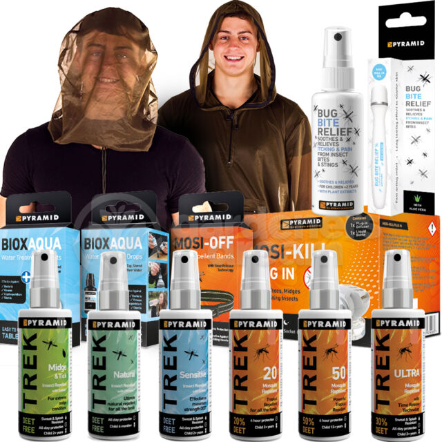 PYRAMID TREK INSECT MIDGE MOSQUITO REPELLENT TOOLS SPRAY JACKET WITH W/OUT DEET