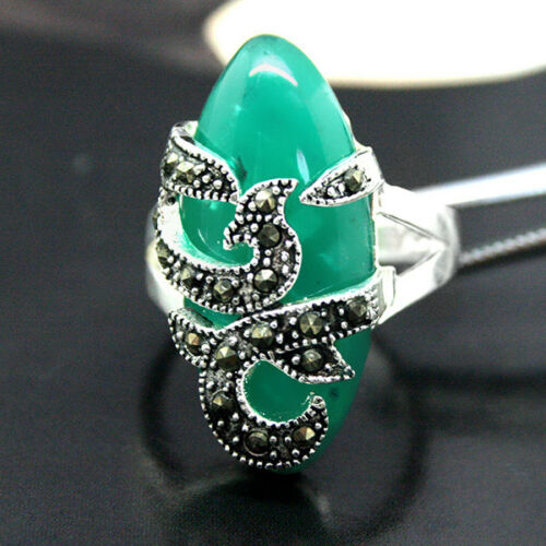 RARE GREEN AGATE /& MARCASITE .925 SILVER RING US Size 7.8.9.10
