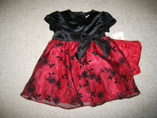 "NEW /""BURGUNDY VELVET ROSE/"" Dress Girls Baby 24m Christmas Boutique Clothes Party"