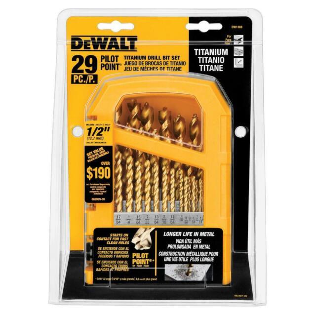 29-Piece DEWALT Titanium Drill Bit Set with Pilot Point DW1369