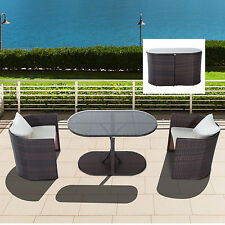 outsunny 3pc rattan wicker sofa patio furniture set dining table chair cushioned
