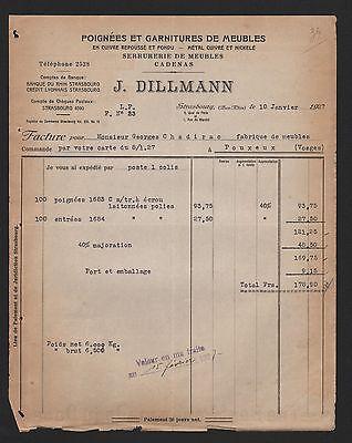 Beliebte Marke Strasbourg, Rechnung 1927, J. Dillmann Poignées Et Garnitures De Meubles Hell In Farbe
