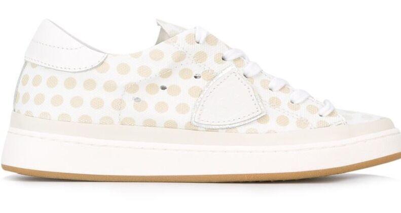 PHILIPPE MODEL 'Lakers' Women's Designer Beige Polka Dot Sneakers - sizes 4 6