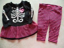 NEW baby girls SKELETON OUTFIT halloween costume TUTU LEGGINGS twins 3-6 MONTHS