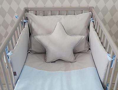 BABY 5PC BEDDING SET PILLOW DUVET BUMPER FIT COTBED 140x70cm Dimple//Small Stars