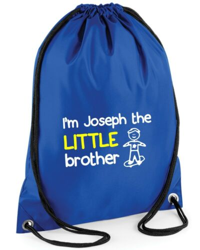 Funny Printed Custom Bag School PE Personalised I/'m The Little Brother Gymsac