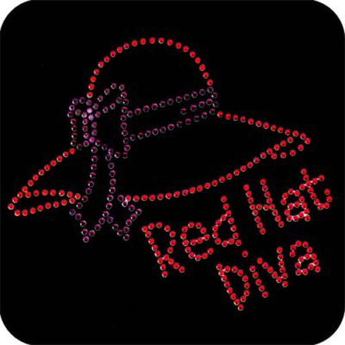 RHINESTONE TRANSFER  RED HAT LADY APPLIQUE 3832-Z