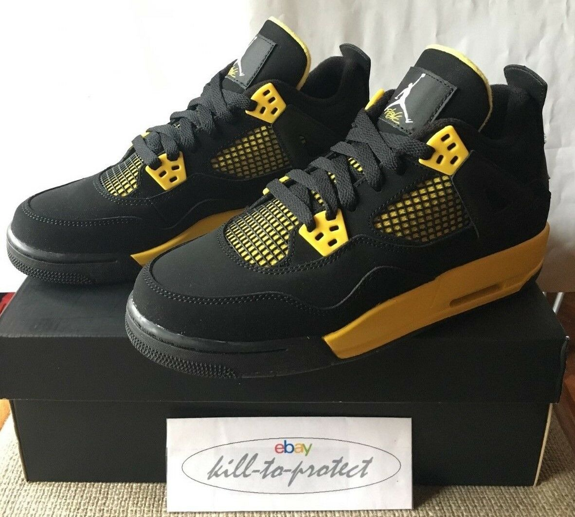 NIKE JORDAN 4 THUNDER GS Kids 4.5Y 5Y 5Y 5Y 5.5Y 6Y 7Y Authentic 408452-008 OG2012 db0d83