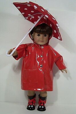 "Plaid Wellies and Raincoat for American Girl 18/"" or Bitty Baby 15/"" Doll Clothes"