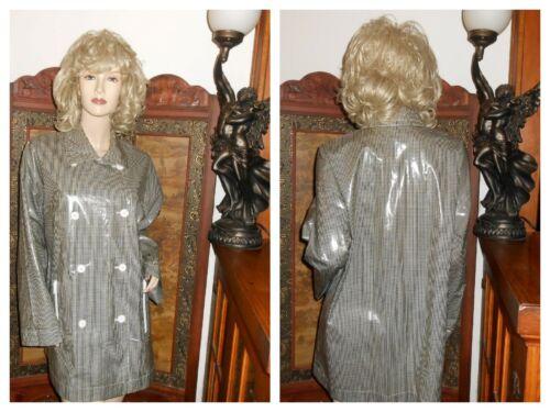M/L Shiny Checkered Vinyl Raincoat PVC Rain Jacket