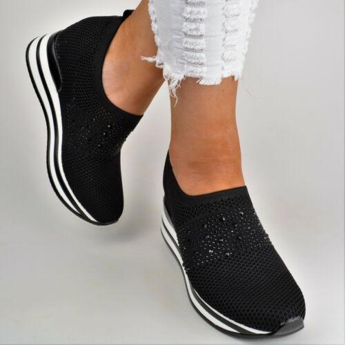 Damen Schuhe Sneaker Schwarz Plateau Glitzer Sport Freizeitschuhe Keilabsatz Neu