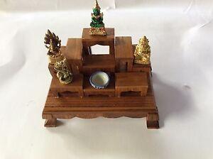 Set of 9 PCS Mini Altar Wood Table Thai Buddha Worship +Track | eBay