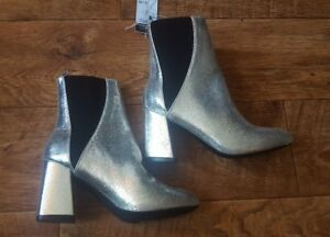 NEW-Rue21-Women-039-s-Glitter-Sparkle-High-Heel-Party-Boots-Silver-Black-6-7-8-10