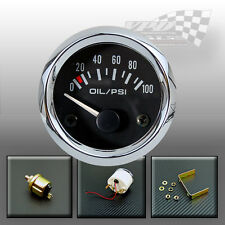 "Oil pressure gauge chrome 0-100psi dial sender universal 52mm / 2"" dash panel"