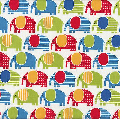 Blue Red Elephants Blue Urban Zoologie Ann Kelle Kids Animal Quilt Fabric FQ NEW