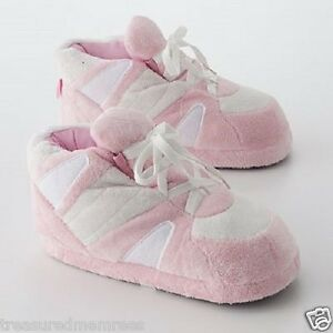 Happy-Feet-Snooki-Plush-Shoe-Slippers-Size-Large-8-5-10-Pink-and-White