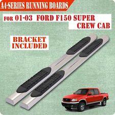 01-03 FORD F150 Super Crew Cab 4 Inch Nerf Bar Side Bar Running Board Chrome A