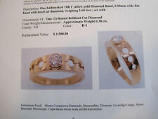 J192 ladys 18K gold  .30ct. H-SI 1 bezel set diamond ring