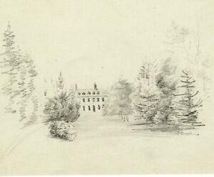 Sicht-D-039-Ein-Schloss-IN-Park-Zeichnung-Antik-Original-XIX-Markiert-Navarra-1855