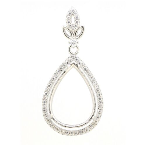 Sterling Silver Semi Mount Pendant Setting Pear Shape PS 16x12mm with Accent