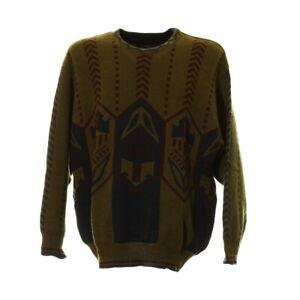 Herren-Strickpullover-Gr-L-Sweater-Sweatshirt-Langarm-Retro-Vintage-Muster