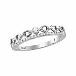 119 10k White Gold Womens Round Diamond Rolo Link Stackable Band Ring 1//5 Cttw